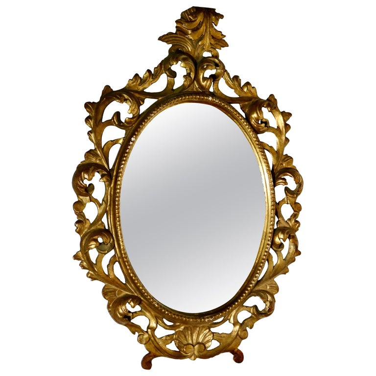 19th Century French Rococo Gilt Wall Mirror For Sale