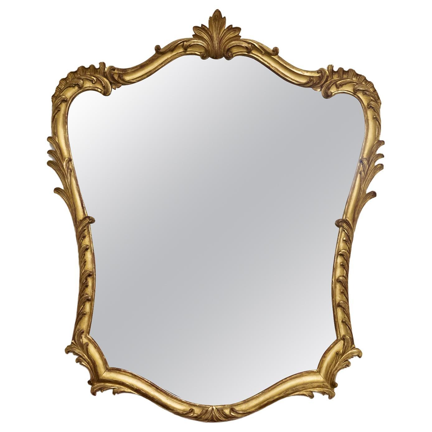 19th Century French Rococo Louis XV Style Giltwood Mirror