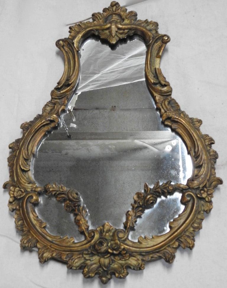 Gilt 19th Century French Rococo Mirrors, Pair
