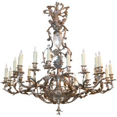 19th Century French Rococo Silvered Bronze Chandelier