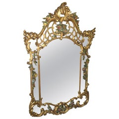 19th Century French Rococo Style Hand Carved Flowers Gilt Wall Mirror