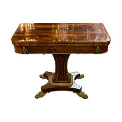 19th Century French Rosewood and Gilt Bronze Mounted Game Table