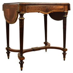 19th Century French Rosewood Brass Inlaid Drop-Leaf Table