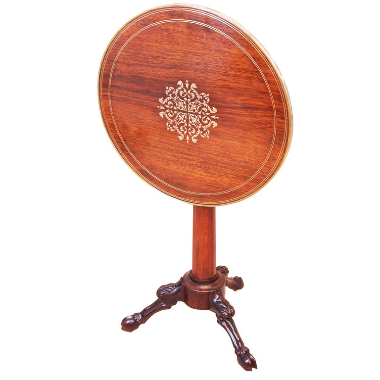 19th Century French Rosewood Circular Lamp Table For Sale