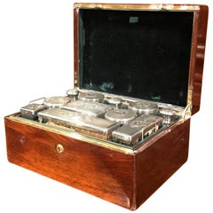 19th Century French Rosewood Travel Vanity Case by Peret and Dated 1855