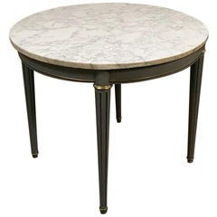 19th Century French Round Carrara Marble Top Painted Louis XVI Table