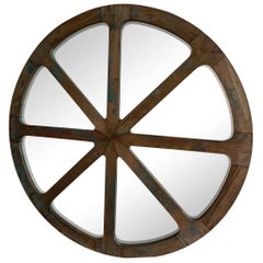 19th Century French Round Industrial Wooden Wall Mirror