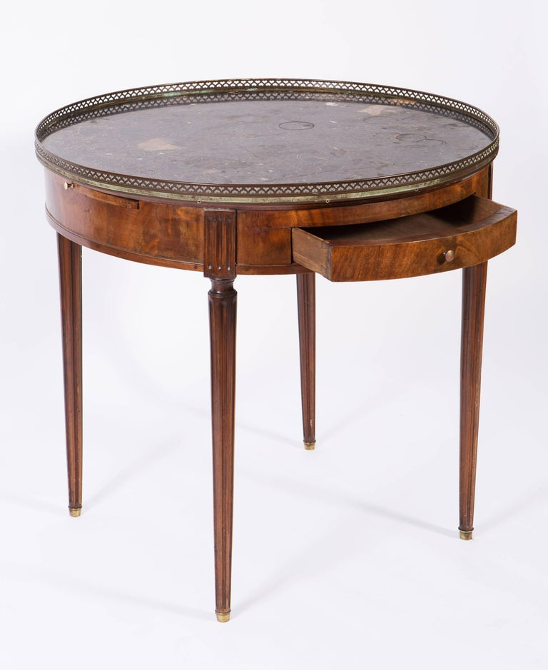 19th century french round mahogany side table with marble. Black Bedroom Furniture Sets. Home Design Ideas