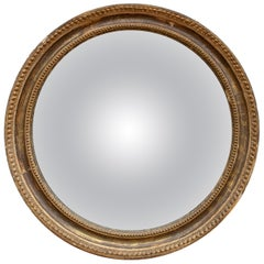 19th Century French Round Mirror with Gilt Frame