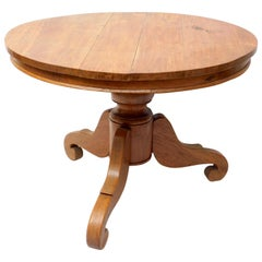 19th Century French Round Pedestal Table of Solid Cherry