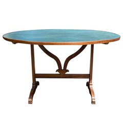 19th Century French Round Tilt-Top Wine Tasting Table with Custom Painted Top