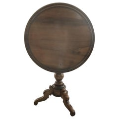 19th Century French Round Walnut Side Tilt Top Table