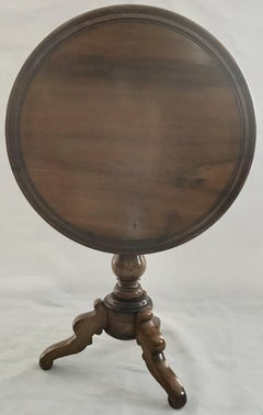 19th Century French Round Walnut Side Tilt Top Table wit