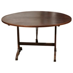 19th Century French Round Wine Tasting Table with Leather Top