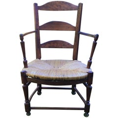 19th Century French Rustic Wood Armchair from Normandy
