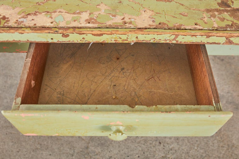 19th Century French Sage Green Pine Farmhouse Dining Table For Sale 5