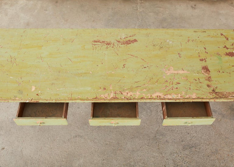 19th Century French Sage Green Pine Farmhouse Dining Table For Sale 6