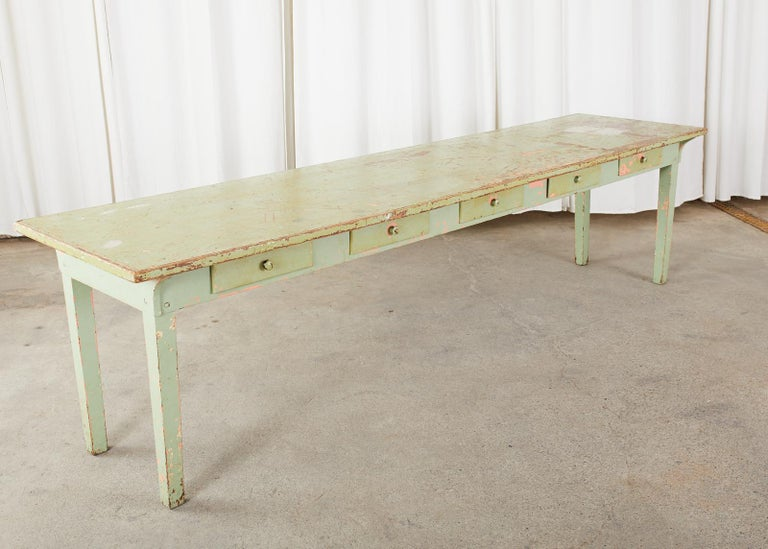 19th Century French Sage Green Pine Farmhouse Dining Table For Sale 9