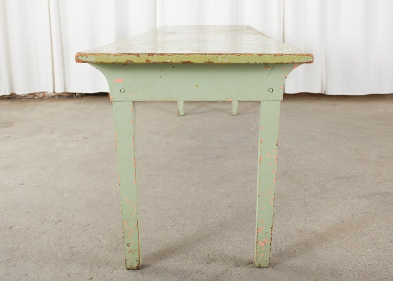 19th Century French Sage Green Pine Farmhouse Dining Table For Sale 10