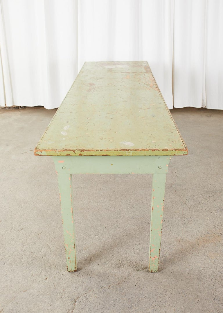 19th Century French Sage Green Pine Farmhouse Dining Table For Sale 11