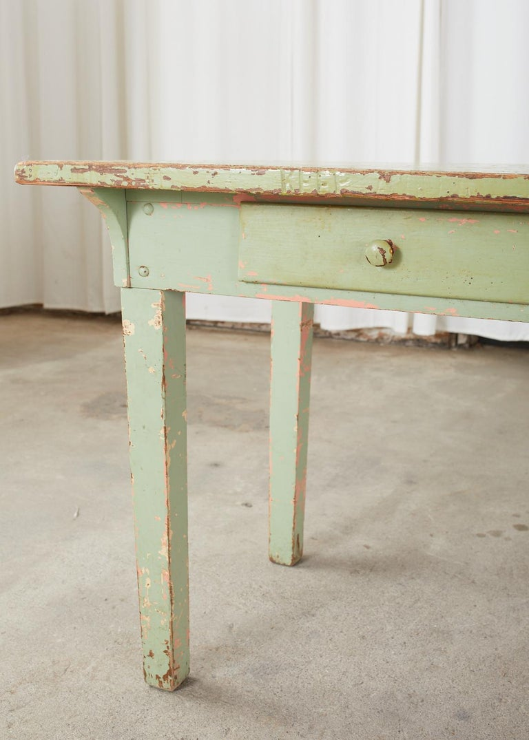 19th Century French Sage Green Pine Farmhouse Dining Table For Sale 12