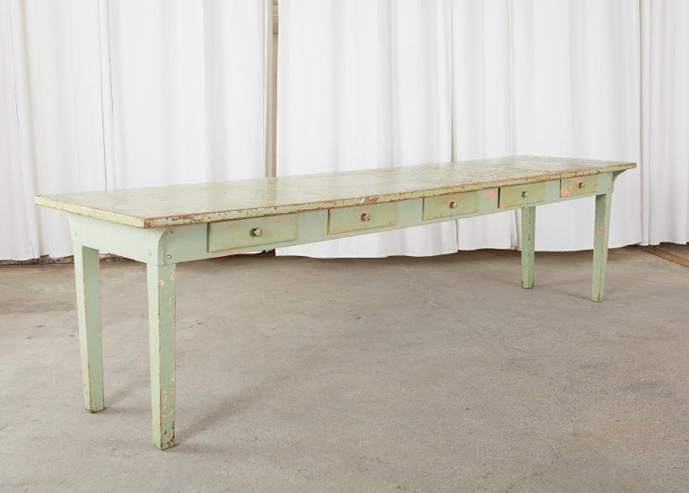 19th Century French Sage Green Pine Farmhouse Dining Table For Sale 13