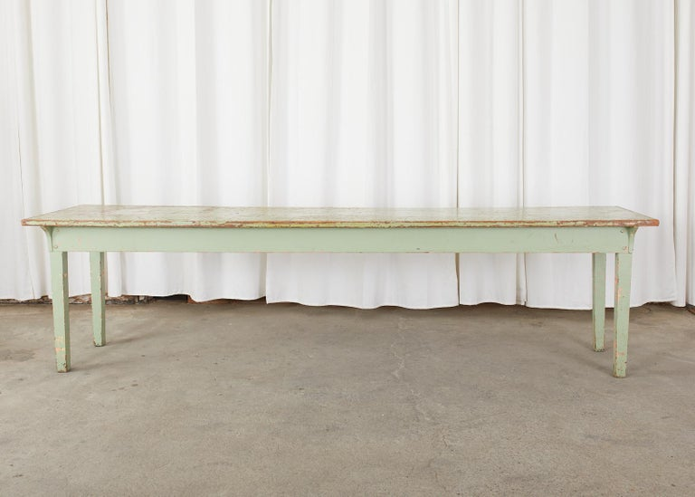 19th Century French Sage Green Pine Farmhouse Dining Table For Sale 14