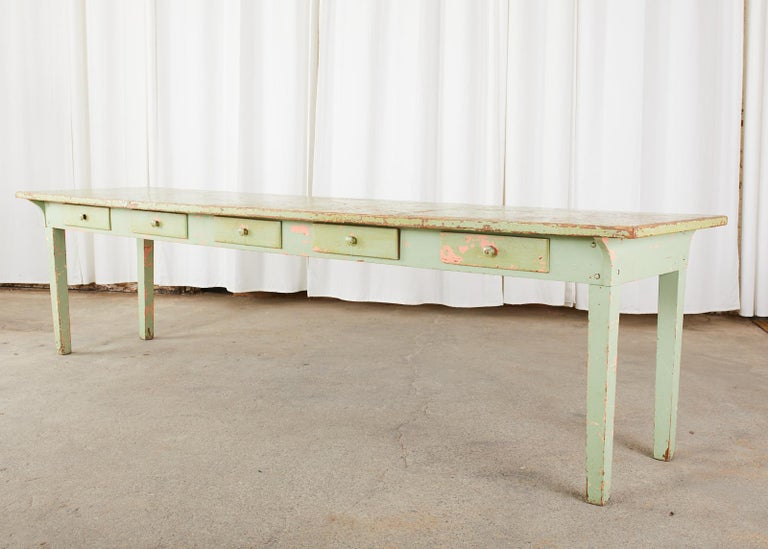 Rustic 19th Century French Sage Green Pine Farmhouse Dining Table For Sale