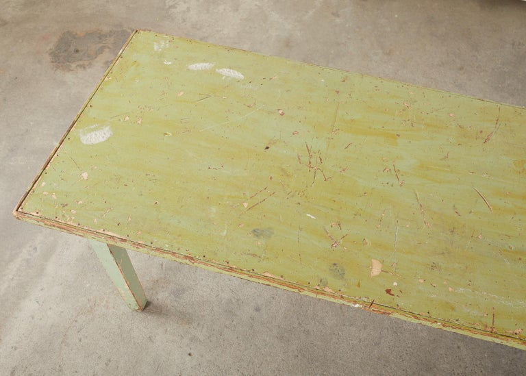 19th Century French Sage Green Pine Farmhouse Dining Table In Distressed Condition For Sale In Rio Vista, CA