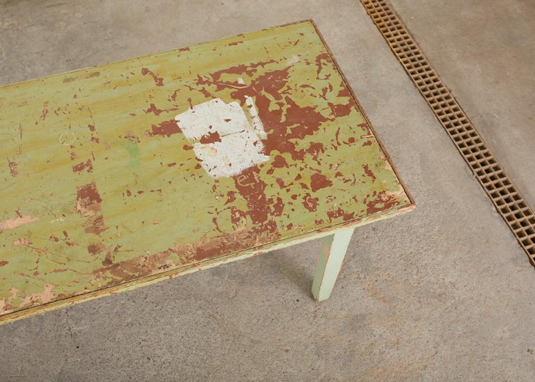 19th Century French Sage Green Pine Farmhouse Dining Table For Sale 2