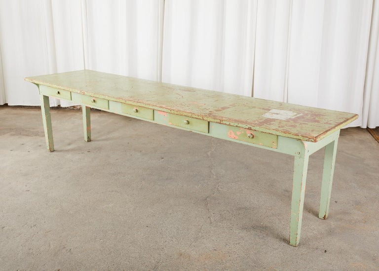 19th Century French Sage Green Pine Farmhouse Dining Table For Sale 3