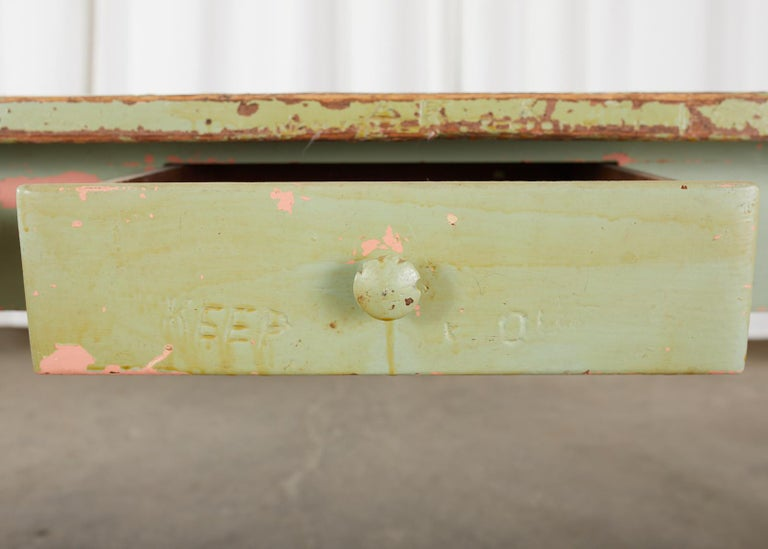 19th Century French Sage Green Pine Farmhouse Dining Table For Sale 4