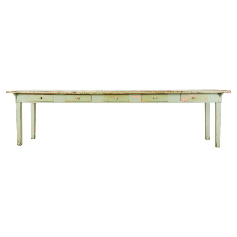 19th Century French Sage Green Pine Farmhouse Dining Table For Sale