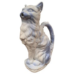 19th Century French Saint Clement Painted Ceramic Barbotine Cat Pitcher
