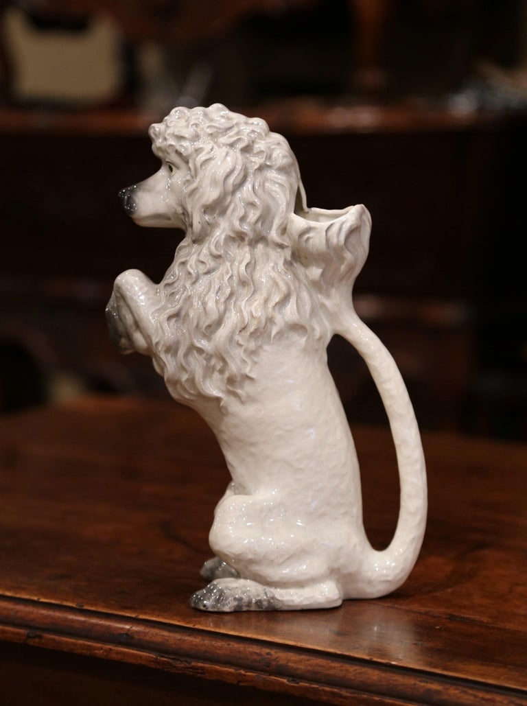 19th Century French Saint Clement Painted Ceramic Barbotine Poodle Pitcher In Excellent Condition For Sale In Dallas, TX