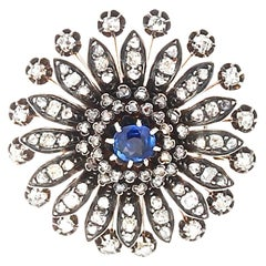19th Century French Sapphire Diamond Brooch