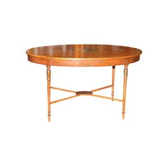 19th Century French Satinwood Oval Table