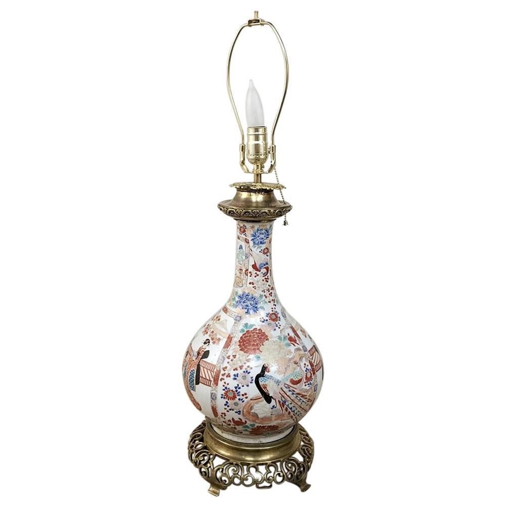 19th Century French Satsuma Urn Table Lamp