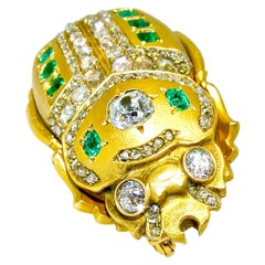 19th Century French Scarab 18K Brooch with Emeralds and Diamonds, circa 1860