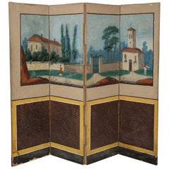 19th Century French Scenic Hand Painted Four-Panel Screen