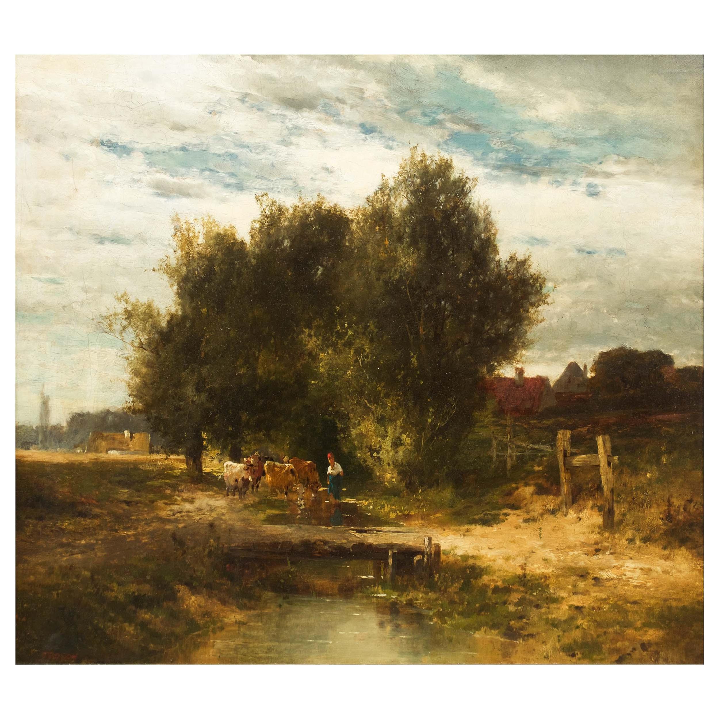 19th Century French School Barbizon Antique Landscape Painting Signed Troyon