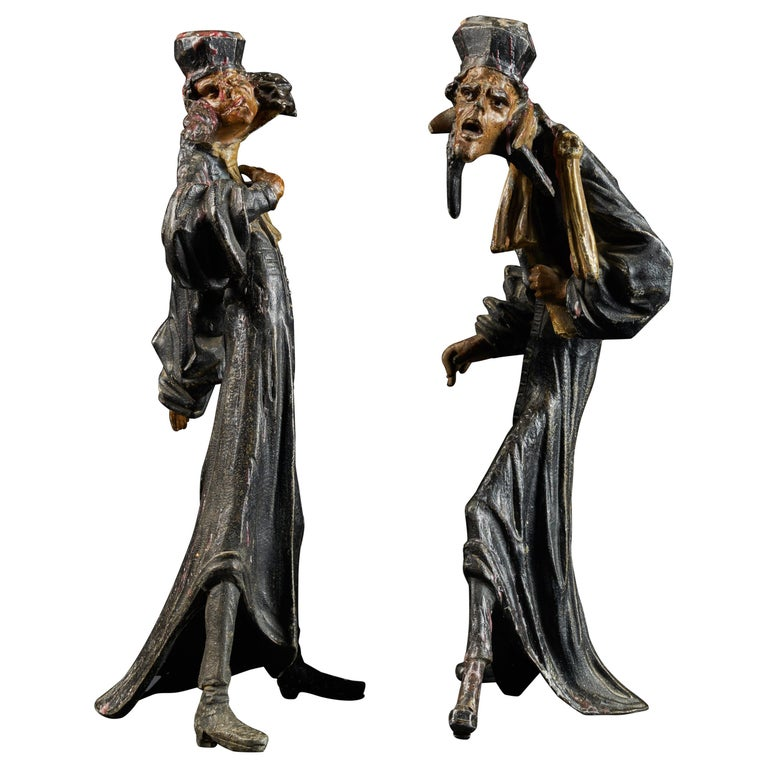 19th Century, French School, Caricatures of Two Pleading Lawyers, Bronze Alloy For Sale