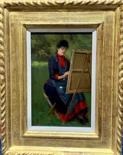 Study of a Woman artist painting by her easel in a landscape