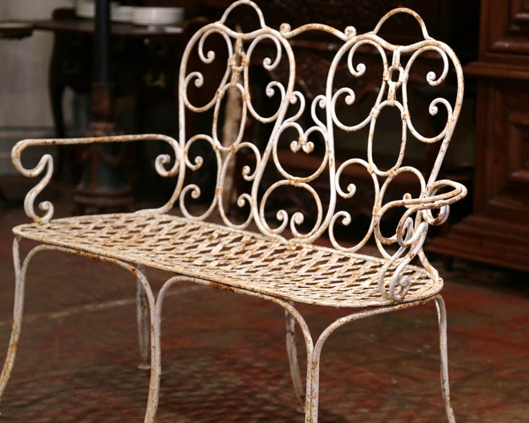 Wondrous 19Th Century French Scroll Painted Iron Six Leg Garden Bench Dailytribune Chair Design For Home Dailytribuneorg