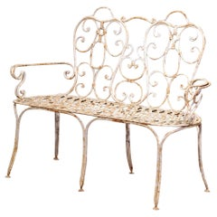 19th Century French Scroll Painted Iron Six-Leg Garden Bench from Normandy