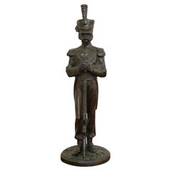 19th Century French Sculpture in Bronze Napoleonic Army Artillery Soldier Figure