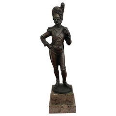 19th Century French Sculpture in Bronze Soldier Grenadier Napoleonic Army Figure