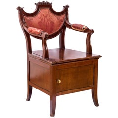 "19th Century French Second Empire Style ""Chaise Percée"" Toilet / Commode Chair"