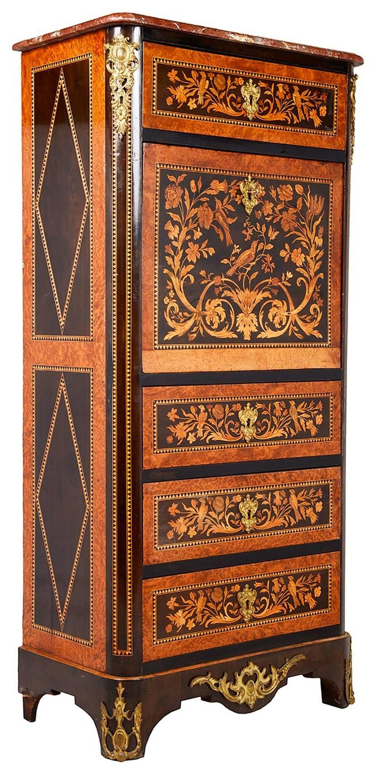 A good quality Louis XVI style marquetry inlaid Secretaire Abattant. Having a Rouge marble top, profuse scrolling floral inlay to the front. A single drawer to the top, the fall front opening to reveal fitted inlaid drawers and an inset writing