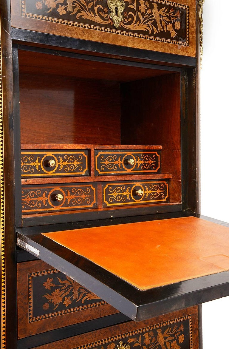 Marquetry 19th Century French Secretaire Chest For Sale